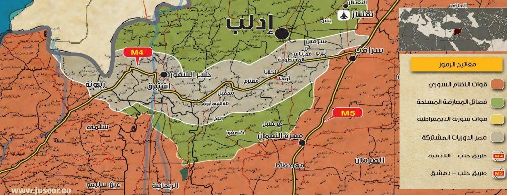 خريطة (4) توضح الممر الآمن الذي يمكن روسيا من تأمين اللاذقية