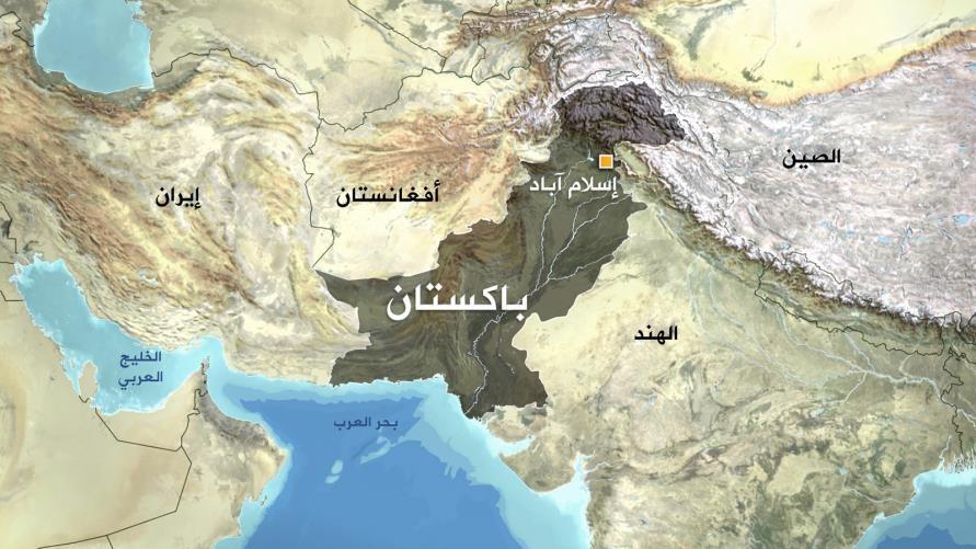 خريطة توضح حدود باكستان