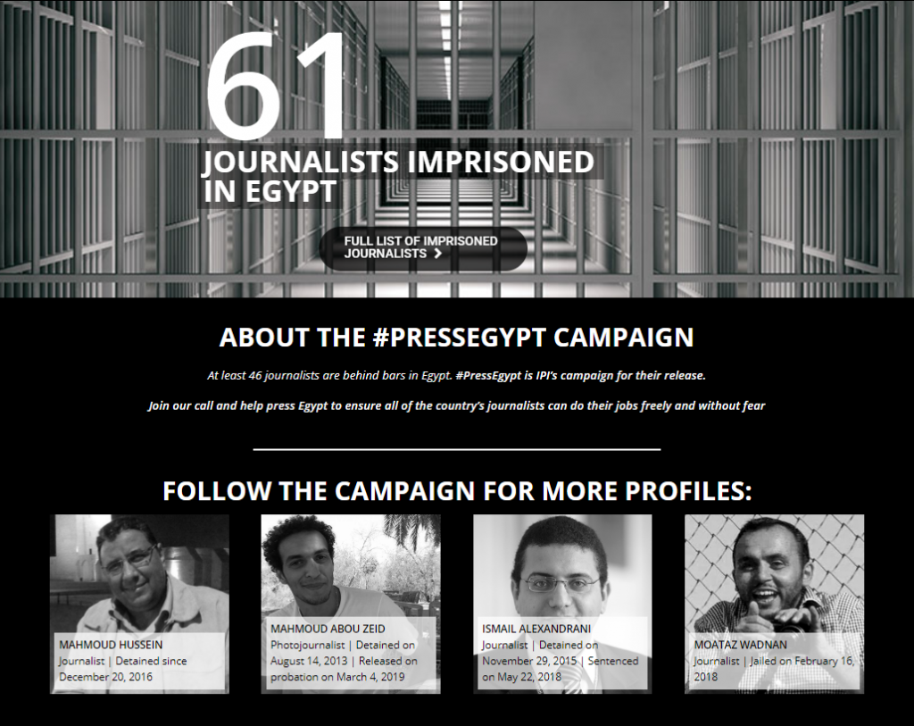 added that a total of 61 journalists are currently behind bars in Egypt