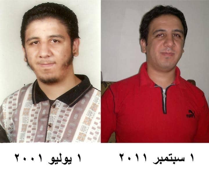 كريم عامر على اليسار وهو طالب في جامعة الأزهر، ثم بعد عشر سنوات على اليمين وهو ملحد