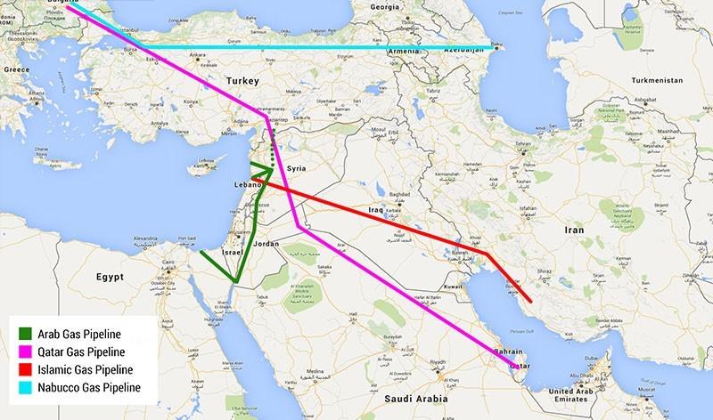 خريطة مسارات أنابيب الغاز عبر سوريا نحو أوروبا