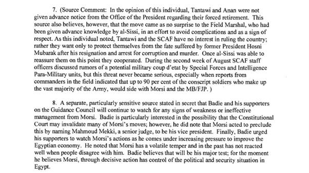 رسائل كلينتون: السيسي يعرض نفسه على مرسي بديلا لطنطاوي-3