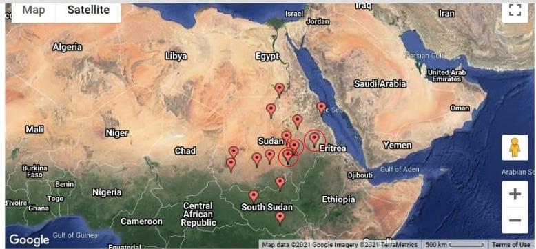 الشكل رقم (1) – مواقع القواعد الجوية السودانية مشار فيه لتلك القريبة من موقع سد النهضة