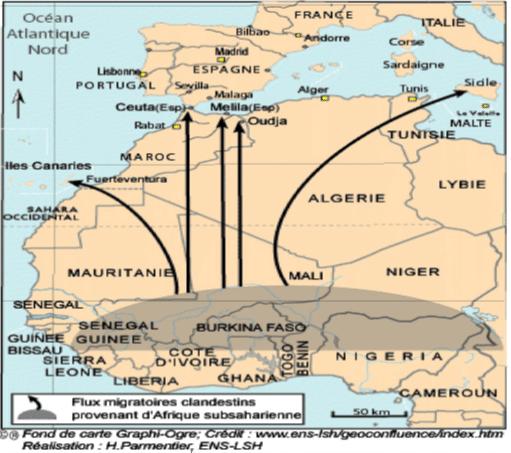 خريطة تمثل مناطق عبور المهاجرين غير الشرعيين